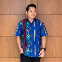 Baju batik hem atasan pria modern motif lurik