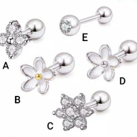 Piercing earring tragus helix stainless tipe A-F