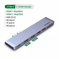 Ugreen 7in1 dual Usb c To Dua Hdmi hub 3.0 SD TF PD New MacBook 2020