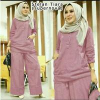 Setelan Tiara, baju gamis wanita+celana jumbo(XL- 3XL) 7 warna