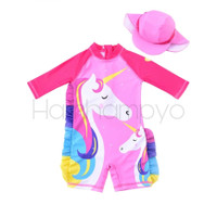 Baju Renang Anak Perempuan Onepices Set Topi DOUBLE UNICORN PINK Impor