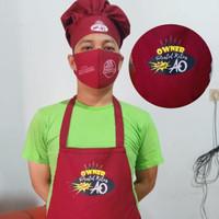 celemek masak / apron dapur / paket +topi koki custom sablon