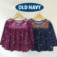Kaos / Atasan/Baju Lengan Panjang Anak Perempuan Old Navy Motif Batik