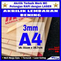 AKRILIK lembaran 3mm uk. A4 / Akrilik bening / Marga cipta / Arcylic