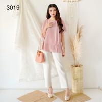 Blus Import Wanita Katun Tisu Korea / BLUS KOREA / ATASAN KOREA # 3019 - Merah Muda, M