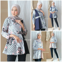 Blouse Batik Wanita Modern Jumbo Murah Atasan Batik Tunik Kantor Blus