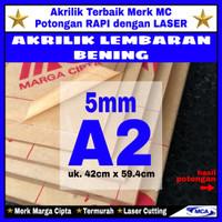 AKRILIK lembaran 5mm uk. A2 / Akrilik bening / Marga cipta / Arcylic