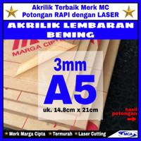 AKRILIK lembaran 3mm uk. A5 / Akrilik bening / Marga cipta / Arcylic