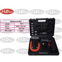 JLD Cordless 4.2 Volt Screwdriver Full Toolkit Bor Obeng Baterai
