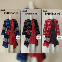 Tunik Fanesa Songket Tali Dress Batik Muslim Etnik Modern Baju Pergi
