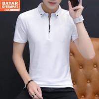 Baju Kaos Polo Pria Resleting Terbaru Polos Kerah Bahan Katun - Elyon - Putih, S