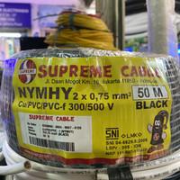 Kabel NYMHY atau NYYHY 2x0.75 mm Hitam Serabut 50 mtr Supreme