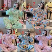 Baju Tidur Wanita | Piyama Import PP Joger Kancing