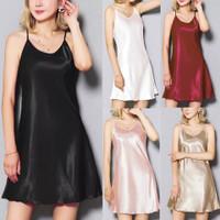 Satin silk camisole baju tidur sleepwear lingerie tank top dress inner