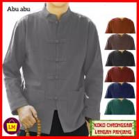 baju imlek atasan pria lengan panjang congsam jumbo XL 3XL sincia abu