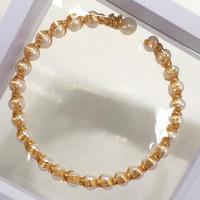 Gelang Mutiara Air Tawar Tyle A Model Ring Lapis emas 925