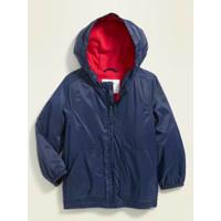 Jaket Waterproof OLD NAVY Anak Laki Laki Warna Navy Warna dalam merah