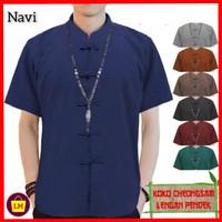 baju imlek atasan pria lengan pendek congsam jumbo XL 3XL navi