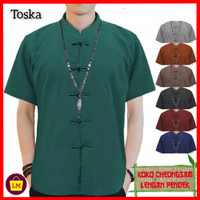 baju imlek atasan pria lengan pendek congsam jumbo XL 3XL toska