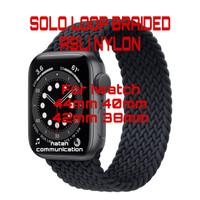 STRAP APPLE WATCH SE 6/5/4/3 44mm 40mm SOLO LOOP BRAIDED NYLON IWATCH - BLACK, 42/44MM SIZE L