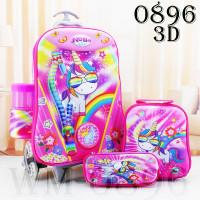 BerryGood - Tas Troli Anak 3D/5D/6D 4 IN 1 CEWEK - 0896 UNICORN
