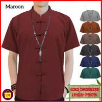 baju imlek atasan pria lengan pendek congsam jumbo XL 3XL maroon