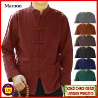 baju imlek atasan pria lengan panjang congsam jumbo XL 3XL maroon