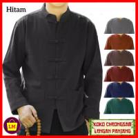 baju imlek atasan pria lengan panjang congsam jumbo XL 3XL hitam