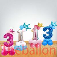 Balon Foil Angka 80 Cm Prince & Princess | Pink, Biru, Rainbow, Silver