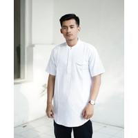 Baju Koko Kurta Qurta Exlusive Lengan Pendek Gamis Pria Al-Akh - M, Putih