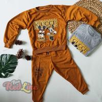 Setelan sweater anak mickey gucci bahan baby terry umur 0-6 tahun