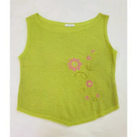 (KKT-2075) AXARA Sleeveless Top - Light Green + Bordir Bunga Pink (ORI