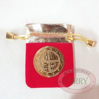 Tas Imlek Koin 5 cm Angpao Kecil Emas Gold Merah Fu Kain Gantungan