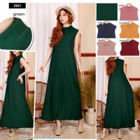 Baju Dress Wanita Cantik Maxi Long Tanpa Lengan Polos Warna