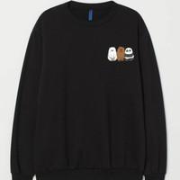 Sweater Basic Crewneck Bare Bears Logo Dada Kiri Unisex Size M-XXL - Hitam, M
