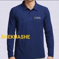Polo shirt kaos kerah baju pria lengan Panjang National Geographic - NAVY, S