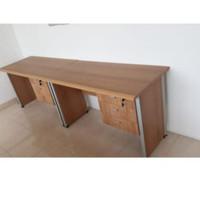 Meja Kantor Powell 2 Orang uk.200 x 50 x 75 cm + Laci Warna Walnut