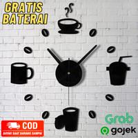 Jam Dinding Besar Raksasa DIY Giant Wall Clock Model Kopi Cafe 70cm