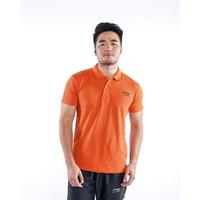 Kaos Polo Pria / Baju Kerah LI01 Warna Orange Bata / Baju Olahraga /