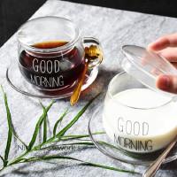 Cangkir Kopi Transparan Glass Coffee Mug Good Morning 350ml