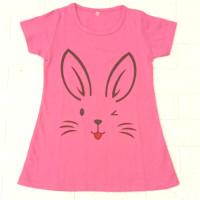 DASTER/DRESS RABBIT IMUT UNTUK ANAK PERMPUAN 1-10 TAHUN - Pink, S