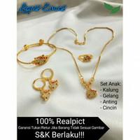 Set Perhiasan Anak Perempuan Lapis Emas Aksesoris Fashion Anak
