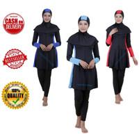 Baju renang muslimah dewasa baju renang perempuan remaja baju renang - PLAT ROK BIRU, M