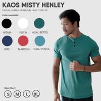 Kaos Polos Misty Henley / Kancing Katun Twotone - Hijau Botol, S