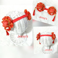Baby Headband Bandana Bayi Imlek Topi Tassel CNY Nylon USA
