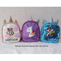 Tas Ransel Anak Unicorn ganti gambar anak Paud TK tas sequin unicorn