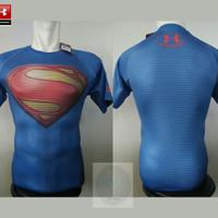 Tshirt UNDERARMOUR Baju Super Hero Superman Clasic Body Fit Gym GO