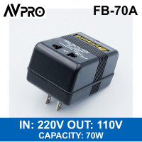 FEEBY FB-70A Step Down Transformer Trafo Input 220v Output 110v 70w BK