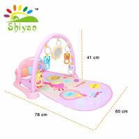 baby gym playmat music bayi playmat matras mainan piano berkarakter - pink