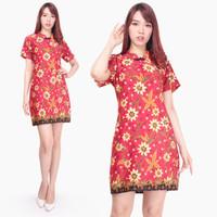 Gilsha Dress cheongsam batik jumbo pendek fit to XL